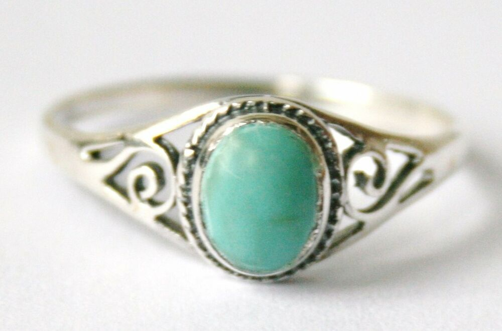 Ladies Girls 925 Sterling Silver Oval Turquoise Ring With