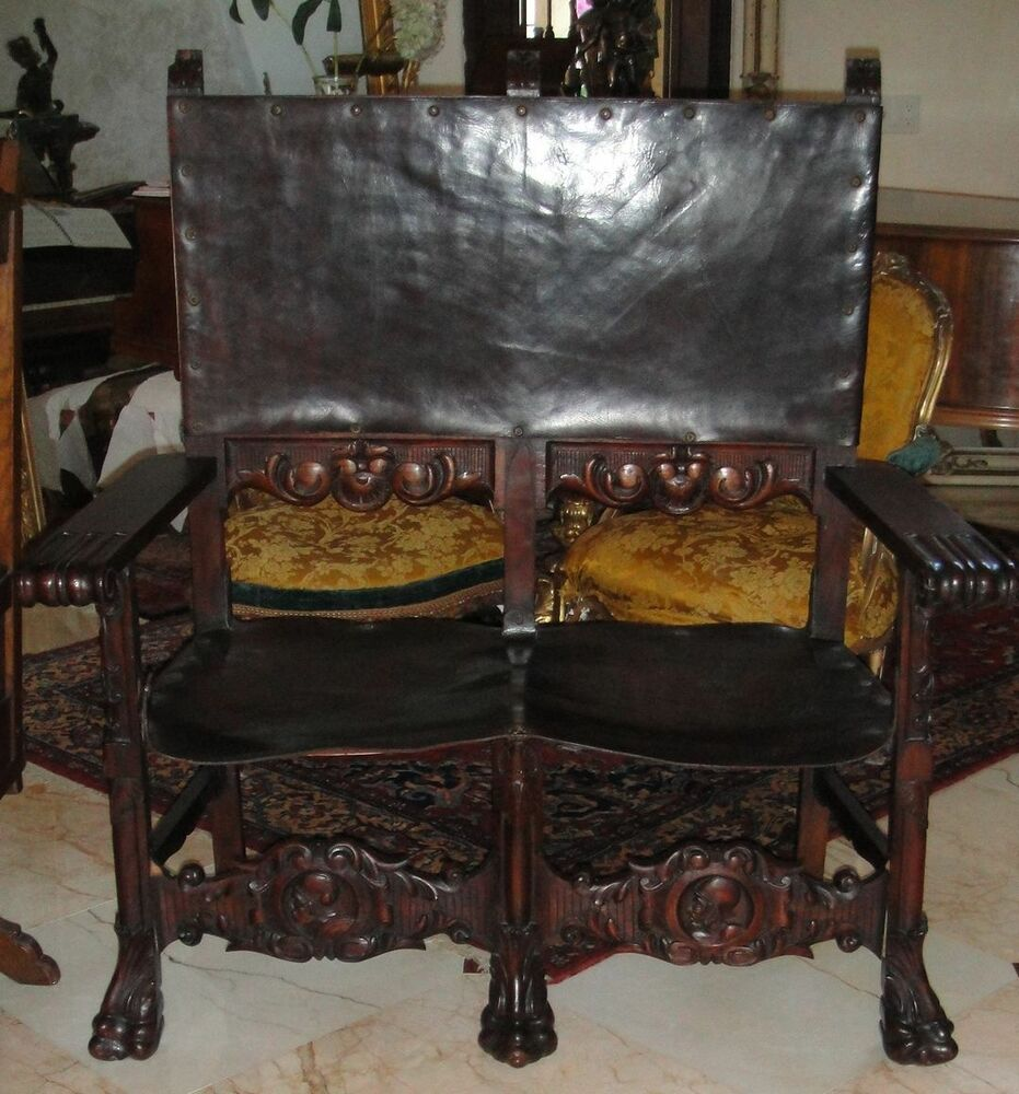 Antique C1870 French Louis Xiii Carved Wood Leather Sofa