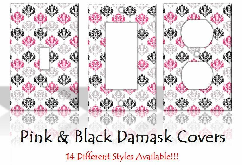 Pink Black Damask Flowers Light Switch Covers Home Decor