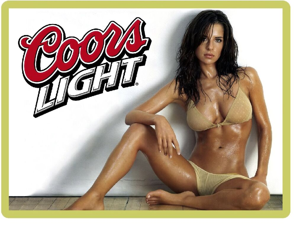 Coors Light Sexy Model In Yellow Bikini Refrigerator