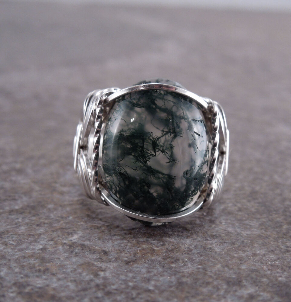 sterling silver moss agate cabochon wire wrapped ring ebay