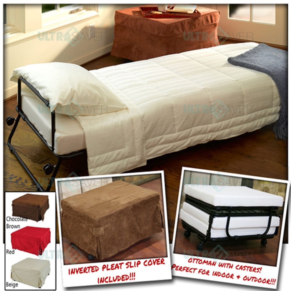 Ottoman Folding Bed Convertible Sofa With Inverted Pleat Slip Cover Casters Ebay