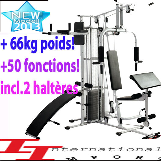 pro top banc de musculation complet 999 station muscu abdo fitness poids ebay. Black Bedroom Furniture Sets. Home Design Ideas