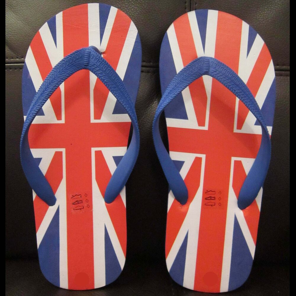 Mens Union Jack Sandals Flip Flop Great Britain Flag Beach Casual UK British Boy