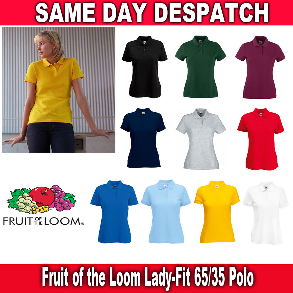 fruit of the loom lady fit 65 35 polo all sizes ebay. Black Bedroom Furniture Sets. Home Design Ideas