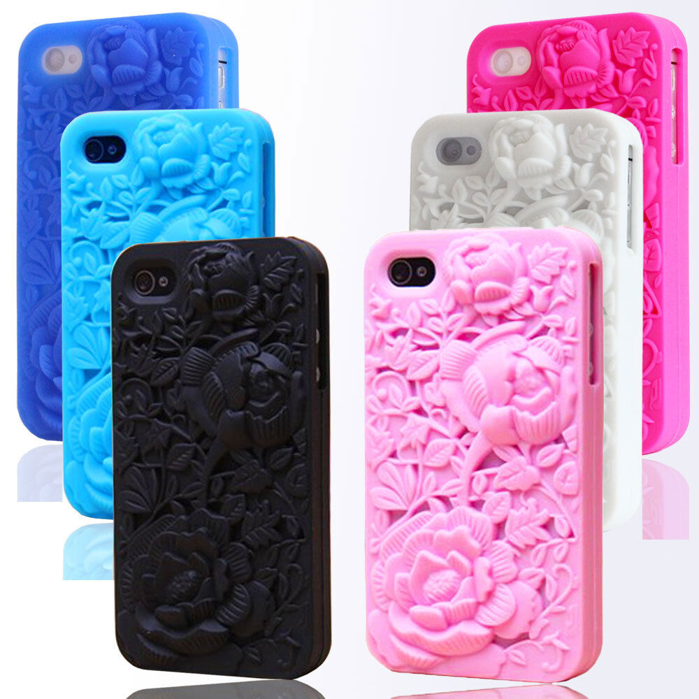 3d sculpture rose flower peony soft silicone case cover for 3d decoration for phone cases