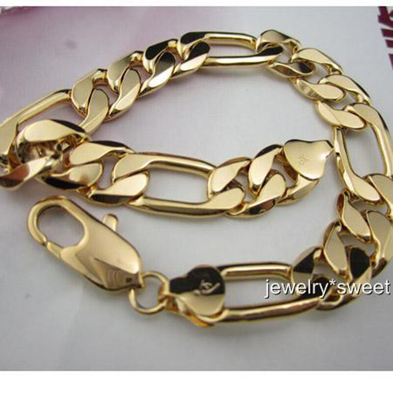 "24k Yellow Gold Filled Mens Bracelet 9""/12mm Solid Figaro ..."