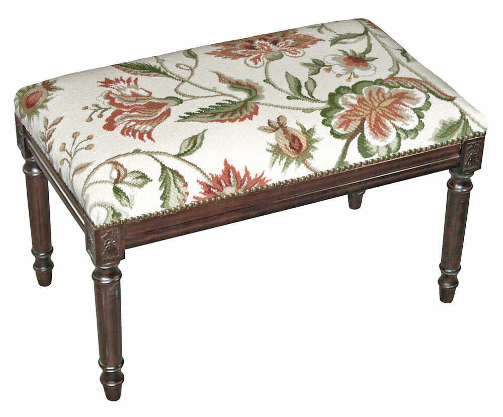 Benches Waverly Manor Upholstered Bench Vanity Bench Cream Floral Bench Ebay