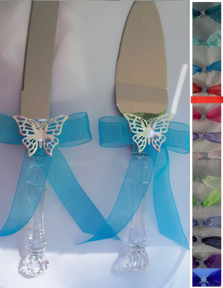 Cake knife server set butterfly wedding custom your for Butterfly wedding