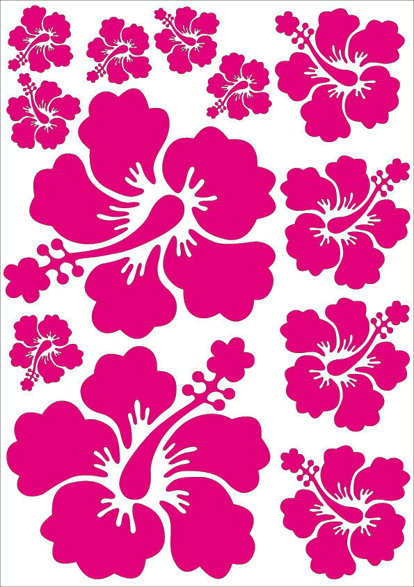 48 stickers fleurs hibiscus decoration design mural auto voitures 24 couleurs ebay. Black Bedroom Furniture Sets. Home Design Ideas