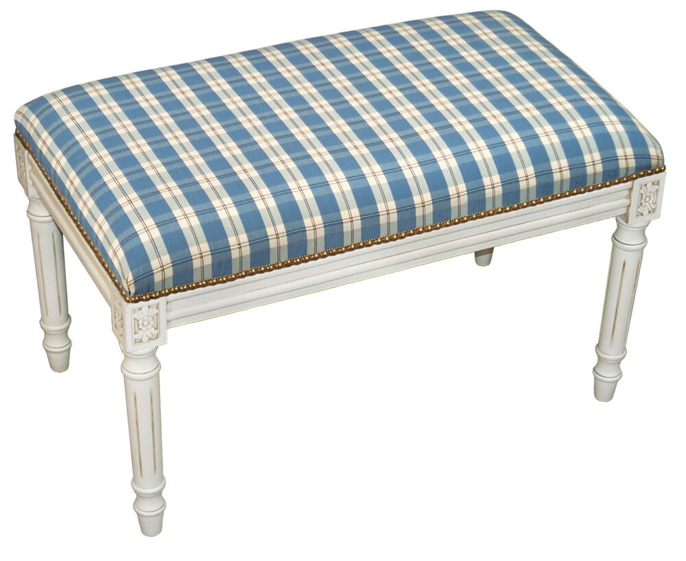 Benches nantucket shores upholstered bench vanity bench blue plaid ebay Padded benches