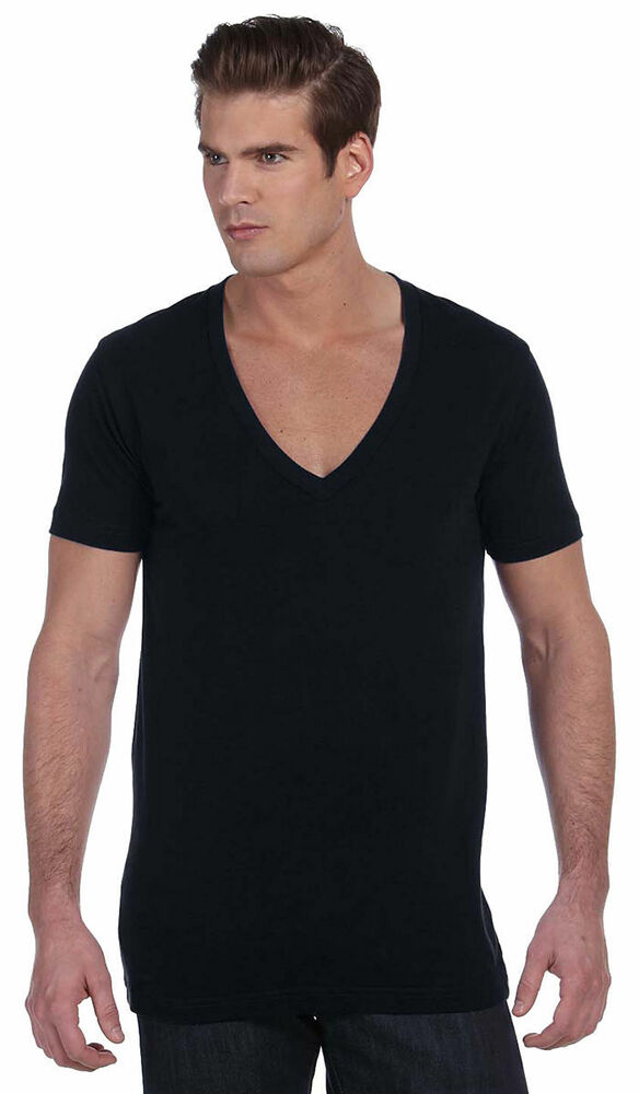 Bella Canvas Mens Unisex Deep V Neck T Shirt Tee Xs 2xl