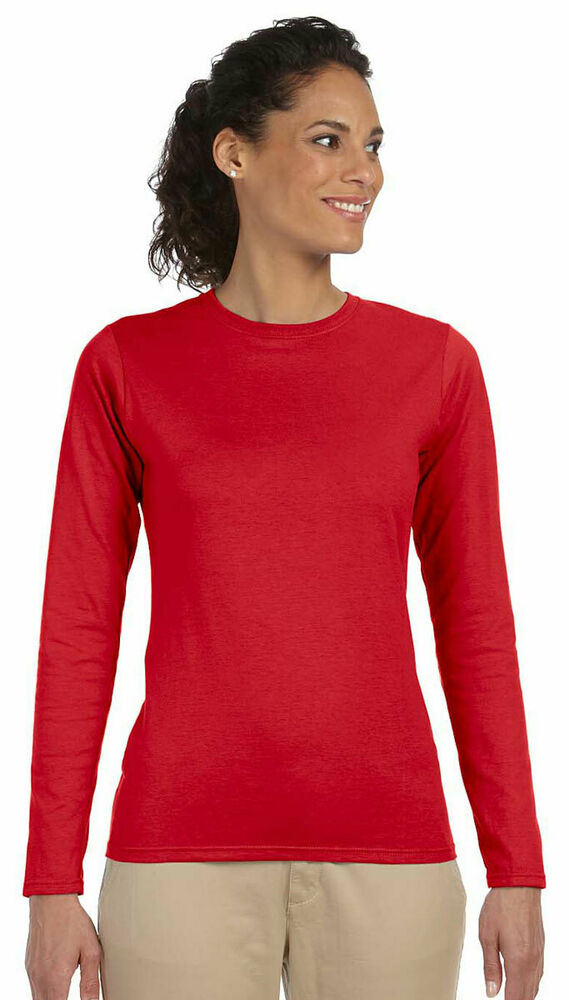 Gildan women 39 s softstyle taped crewneck 100 cotton long for Women s 100 cotton long sleeve tee shirts
