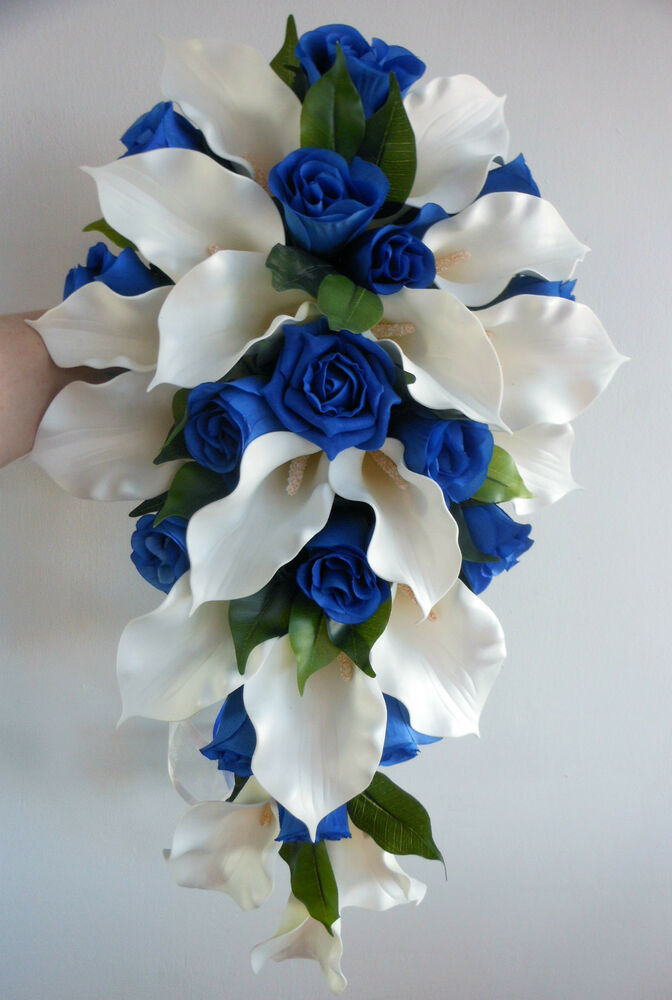 Royal Blue And Ivory Wedding Bouquets : Wedding bouquet ivory latex foam calla lily royal blue