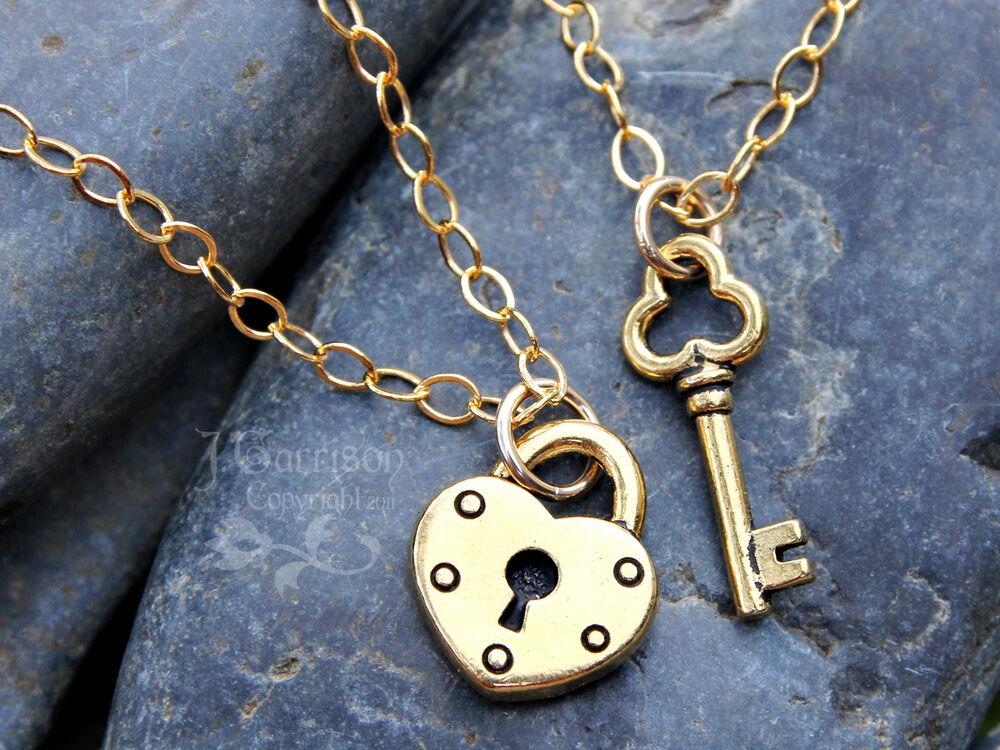 Key to my heart gold couples necklace set- 2 necklaces w ...