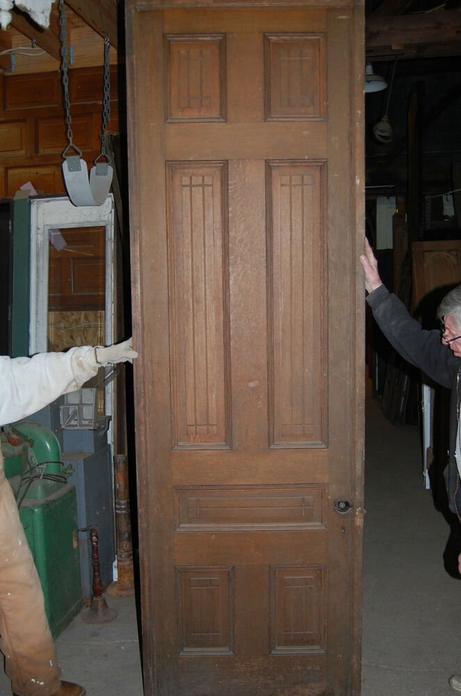 Antique Eight Panel Oak Pocket Door Vintage Home Decor