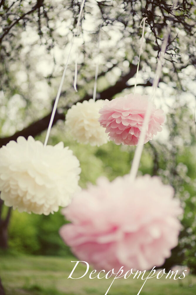 10 tissue paper pompoms large or medium or small for Advanced molding and decoration s a de c v