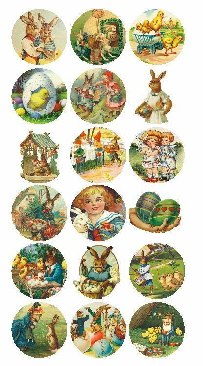 Vintage easter eggs bunny basket labels stickers decals for Crafts that sell on ebay