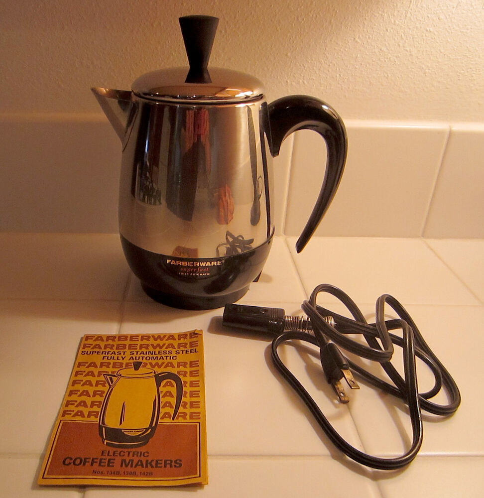 Vintage Farberware Superfast Electric Percolator Coffee Maker w/ Original Manual eBay