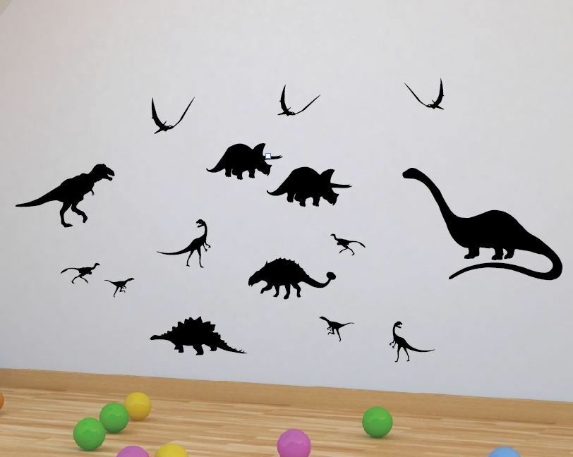 Dinosaur Silhouettes X 15 Wall Stickers Boys Room T Rex