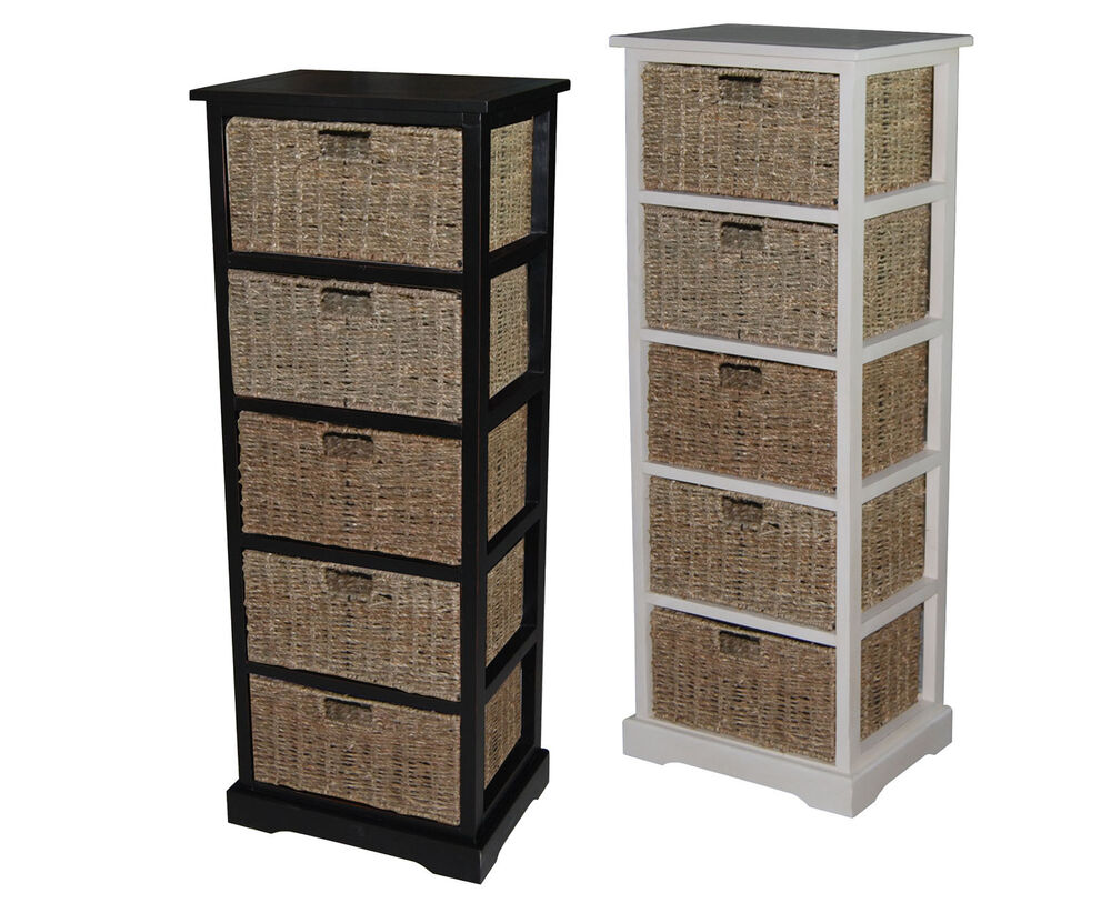 Urbanest Solid Wood Accent Cabinet Storage With 5 Seagrass Baskets 44 5 Tall Ebay