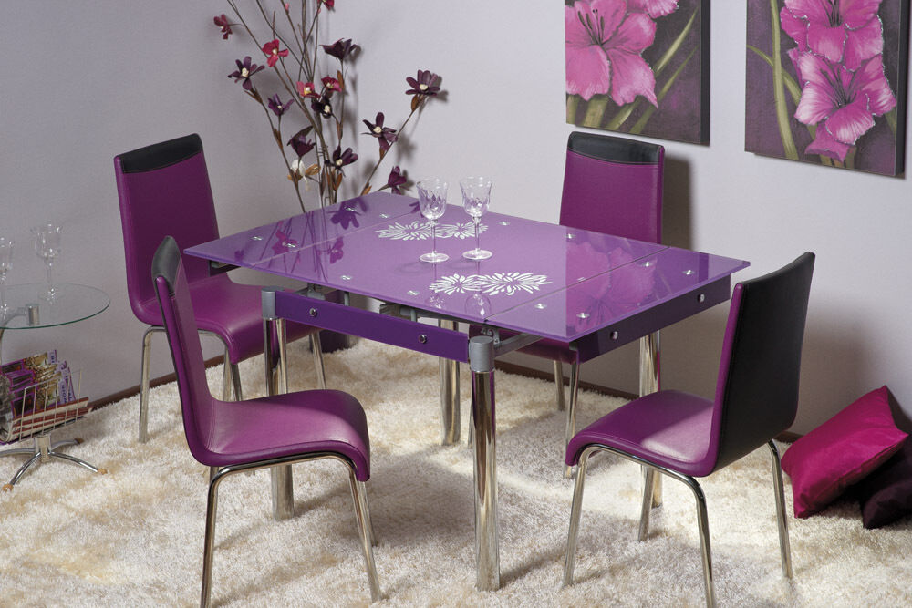 "savannah"" purple glass extendable dining table & 4 chairs 