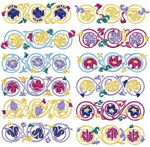 Elegant borders 12 machine embroidery designs 5x7 ebay for Embroidery office design version 7 5