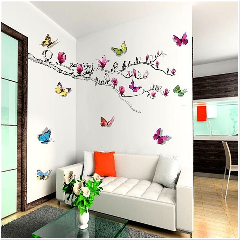 Huge 3d colorful butterflies magnolia flowers tree wall for Butterfly wall mural stickers
