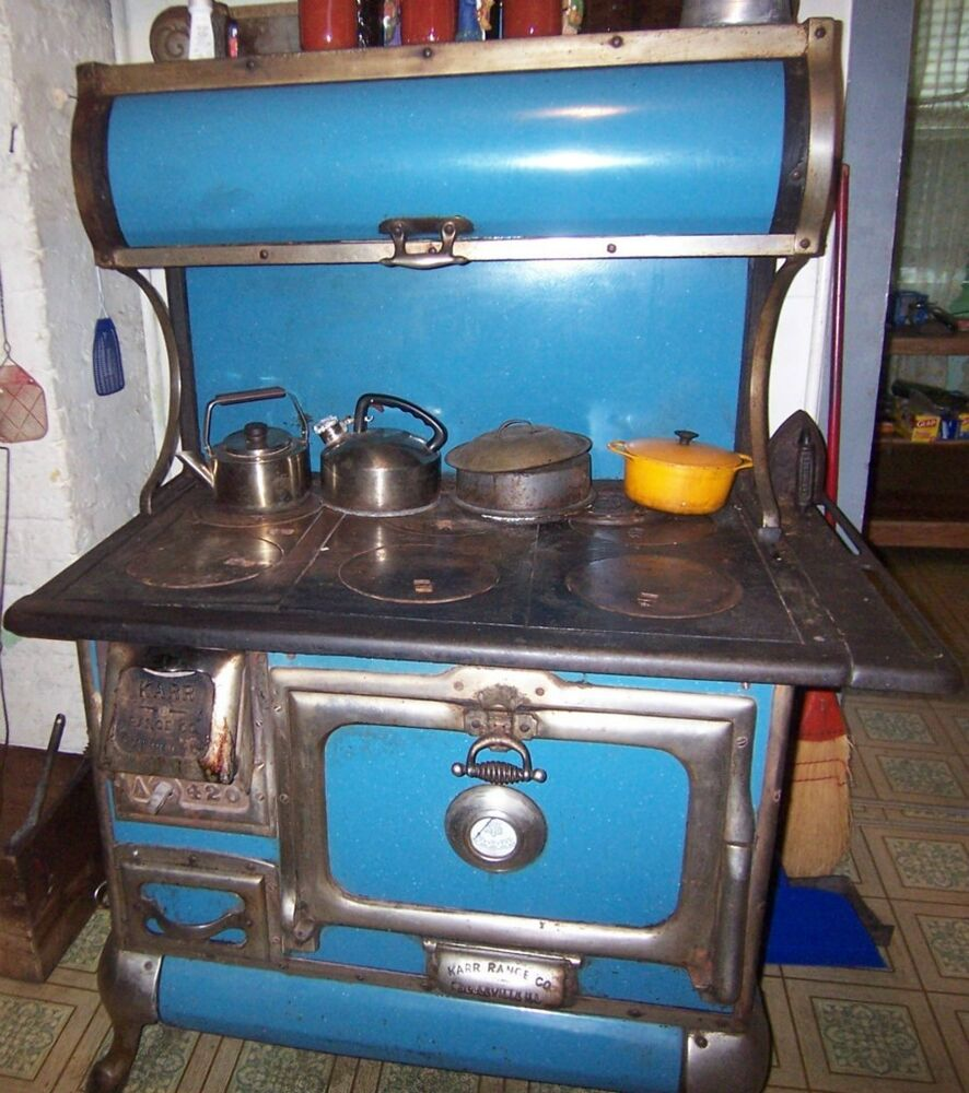 Antique Karr Range Co Wood Burning Blue Enamel Stove