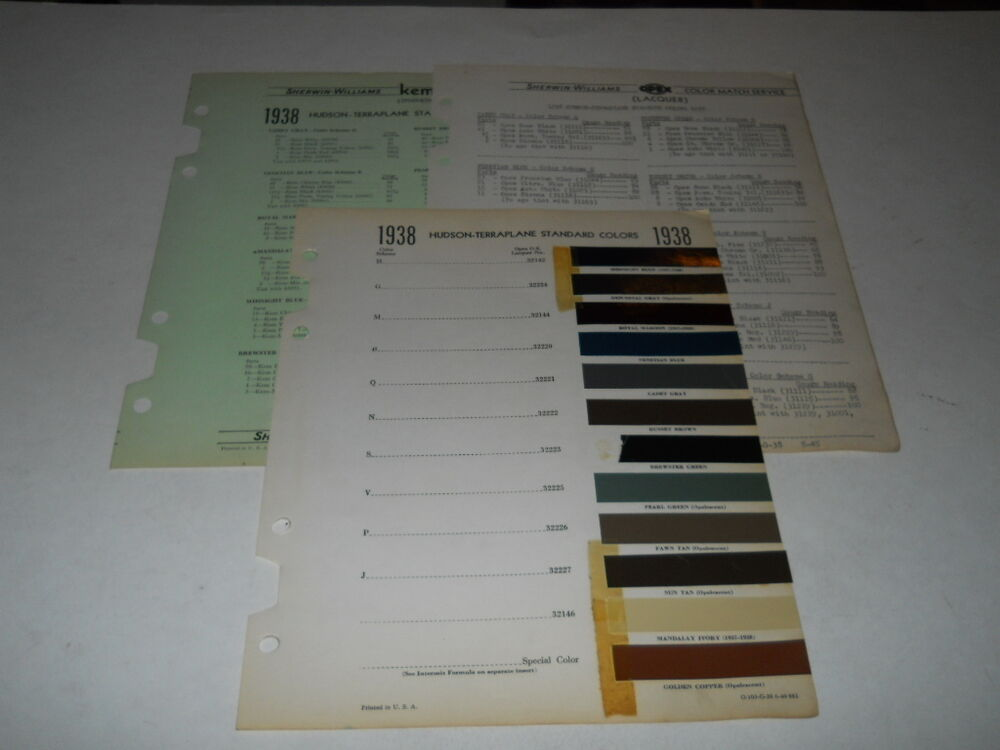 1938 hudson teraplane paint chip chart colors sherwin. Black Bedroom Furniture Sets. Home Design Ideas