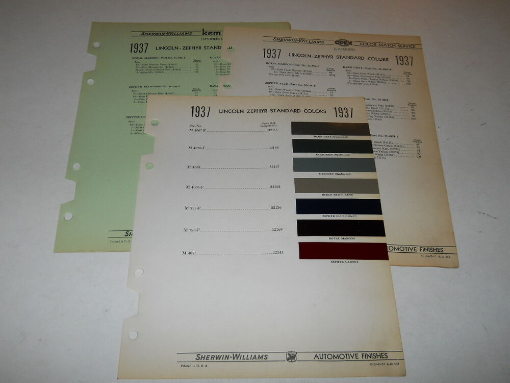 Car Paint Colors >> 1937 LINCOLN ZEPHYR PAINT CHIP CHART COLORS SHERWIN WILLIAMS PLUS MORE | eBay