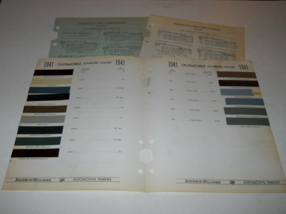 1941 oldsmobile paint chip chart colors sherwin williams. Black Bedroom Furniture Sets. Home Design Ideas