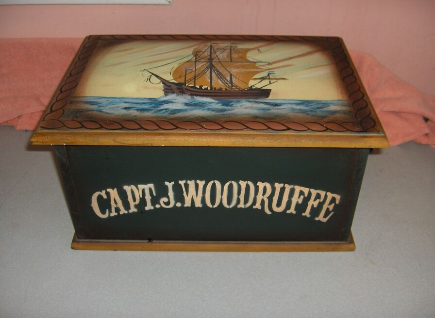 vintage hinged lid wood storage box nautical sailing ship capt j woodruffe nice ebay. Black Bedroom Furniture Sets. Home Design Ideas