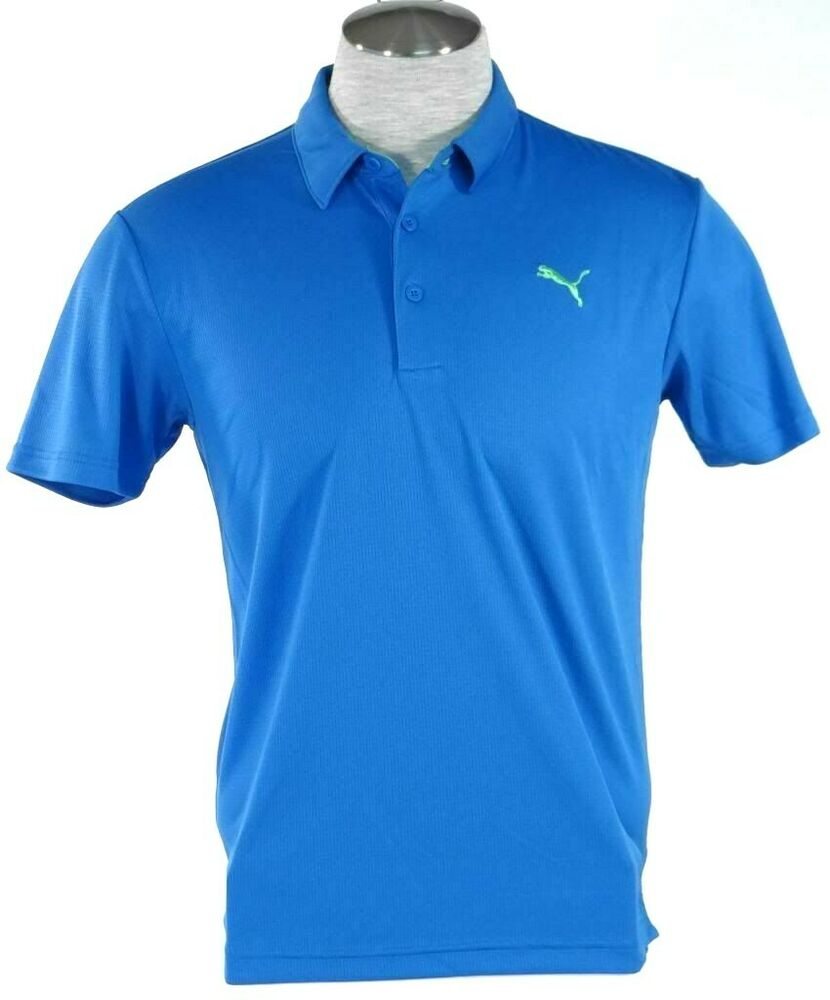 Puma cell moisture wicking blue short sleeve athletic polo for Men s athletic polo shirts