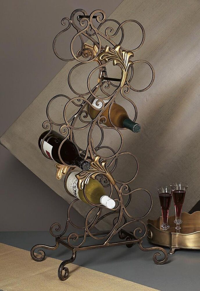 Wine rack bellagio floor standing metal wine rack 12 bottle wine rack ebay - Wine racks wrought iron floor standing ...