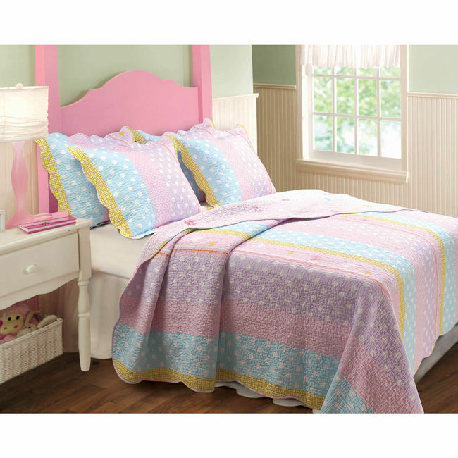 beautiful reversible pink purple blue polka dot girls quilt set full queen twin ebay. Black Bedroom Furniture Sets. Home Design Ideas