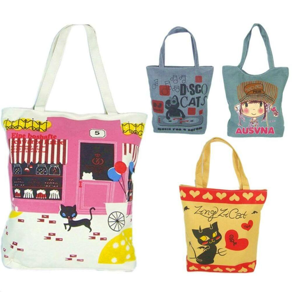 Tote Bags For School Books - Cute new ladies womens girls canvas shopping tote book college school lunch bag ebay