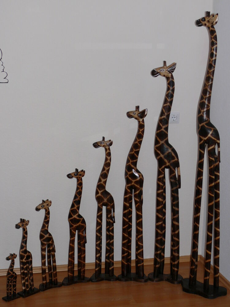 holzgiraffe giraffe dekoration dekofigur afrika giraffenfamilie 30cm 180cm ebay. Black Bedroom Furniture Sets. Home Design Ideas