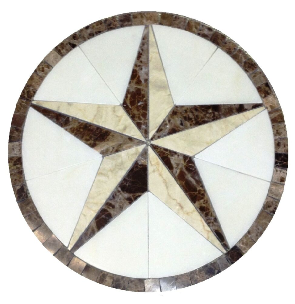 Round Mosaic Tile Patterns: Floor Marble Medallion Texas Star Tile Mosaic 48 Crema