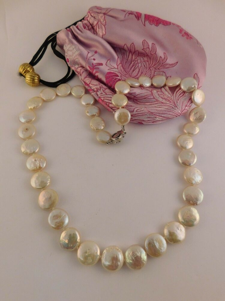 Pink Button Pearl Necklace Sterling Silver Rose Clasp