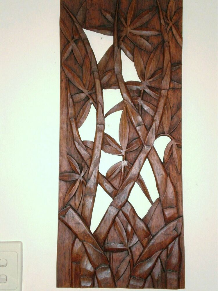 Bali bamboo leaves wall art panel hanging hard wood