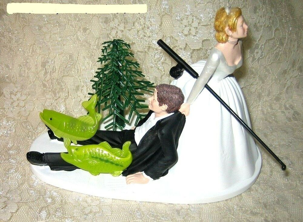 Wedding Reception Party Fishing Fisherman Cake Topper