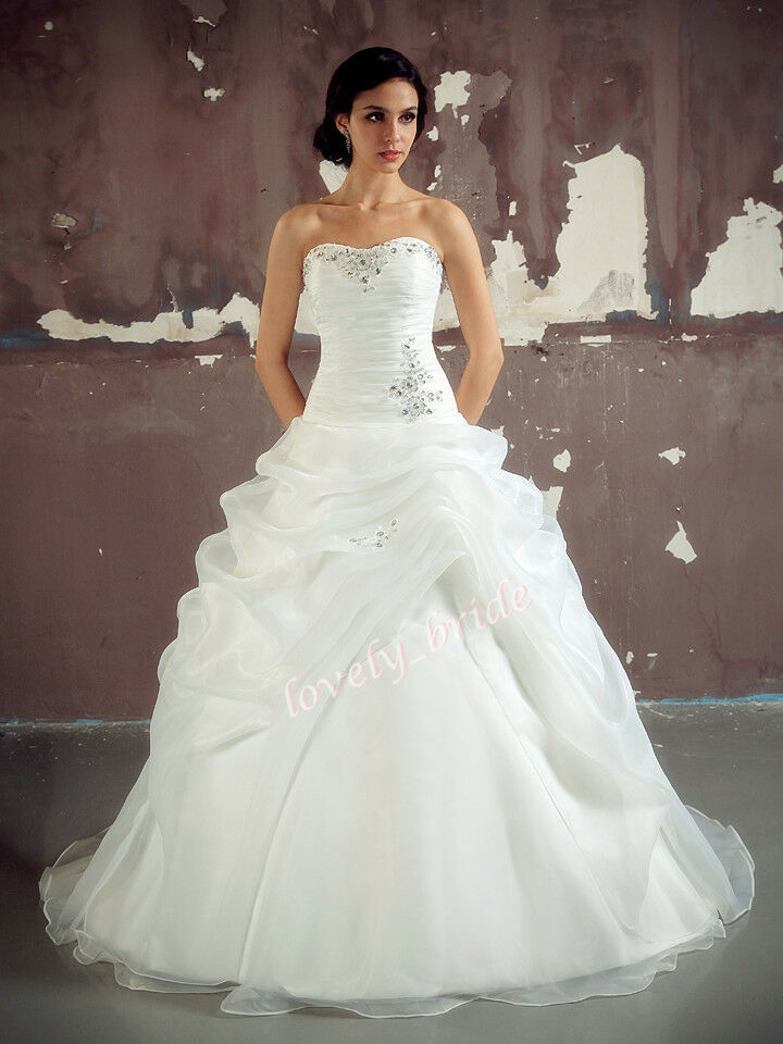 New white ivory organza wedding dress bridal bride prom for Ebay wedding dresses size 18 uk