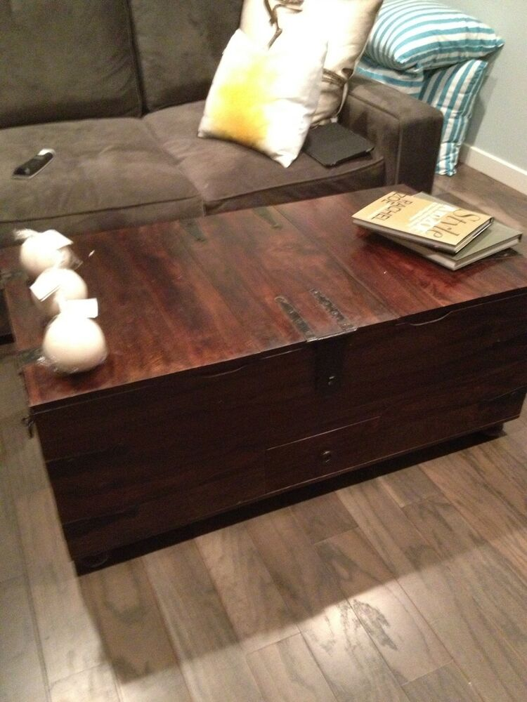 Gorgeous Pottery Barn Rustic Wood Trunk Coffee Table