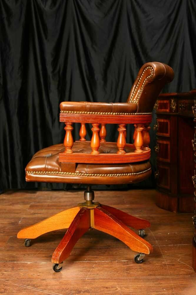 Leather Desk Chair Swivel Captains Tub Seat Office