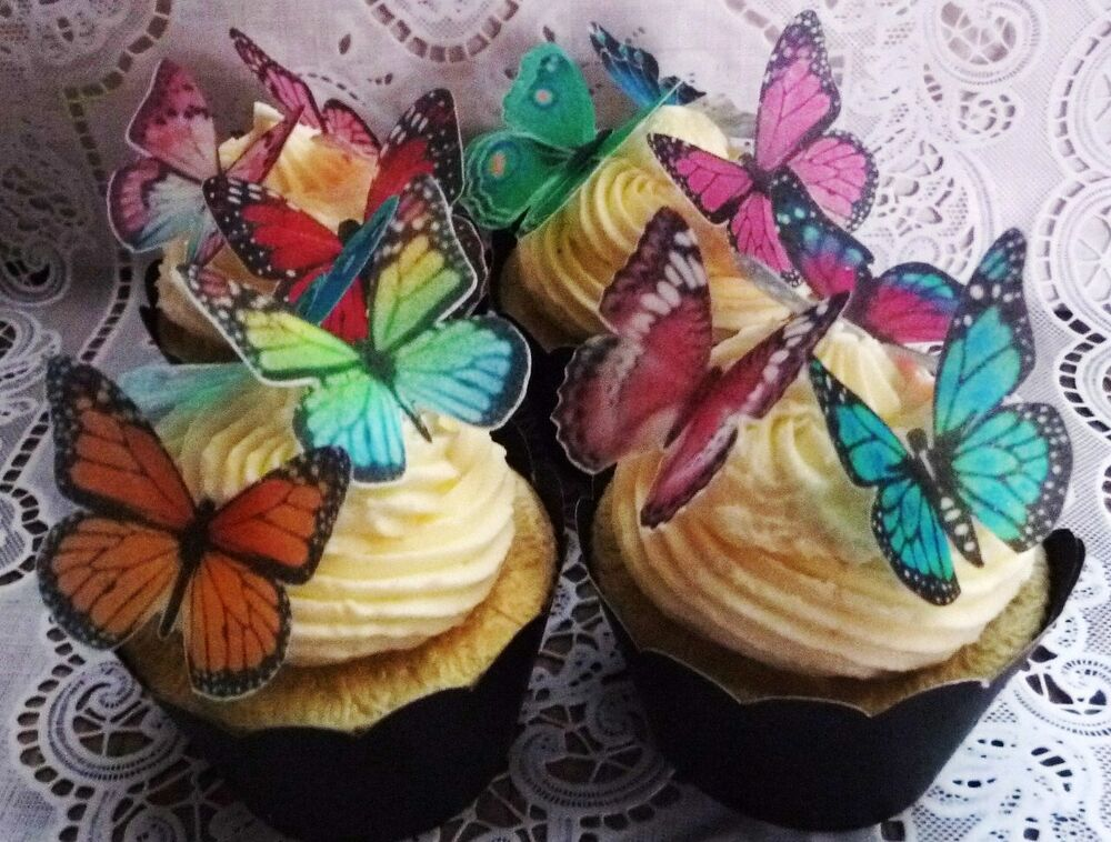 Edible Cake Decorations Fairies : 36 gorgeous assorted edible wafer butterfly cupcake cake ...