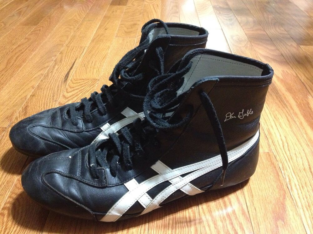 asics hk67c wrestling shoes dan gable black leather size