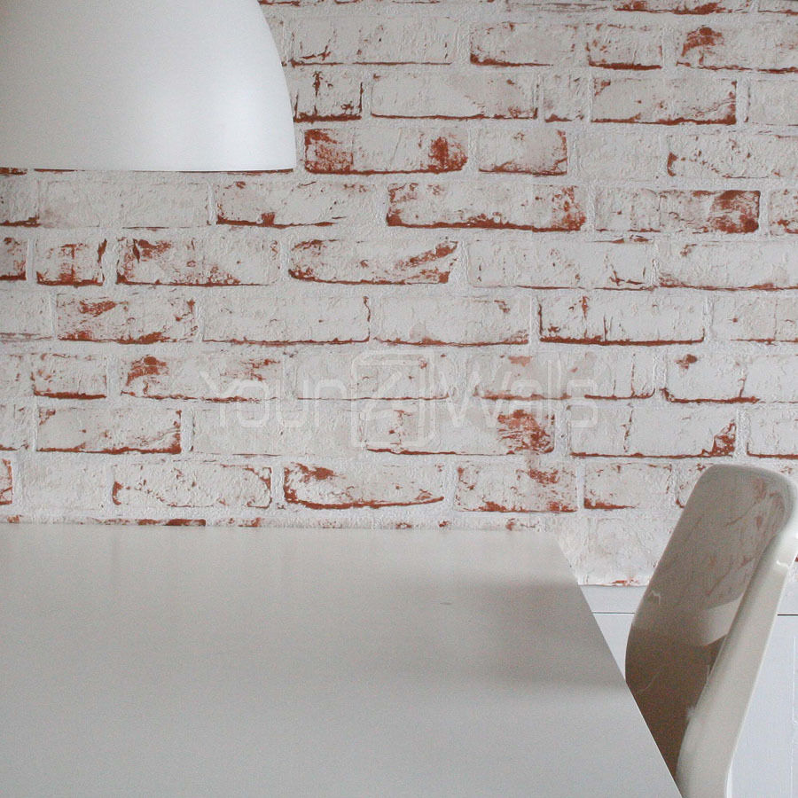 White Painted Reclaimed Brick Wallpaper White Red Orange