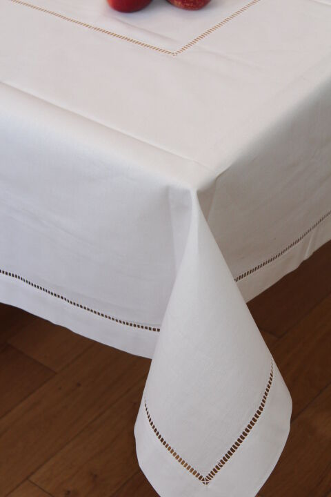 white 100 cotton dining tablecloths hemstitch table