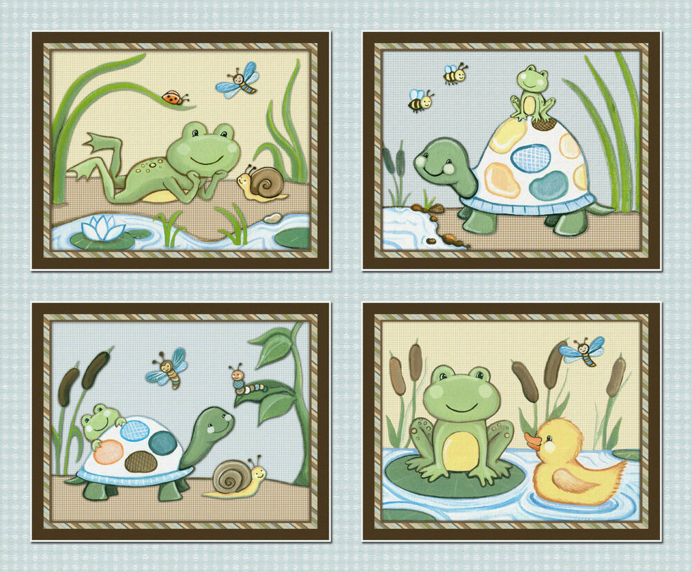Pond Friends Wiggle Bugs Nursery Wall Art Decor Frog